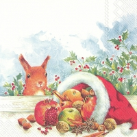 Servietten 33x33 cm - CHRISTMAS FRUITS FROM SANTA