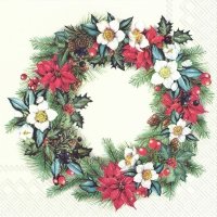 Servietten 33x33 cm - CHRISTMASSY WREATH creme