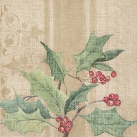 Servietten 33x33 cm - CHRISTMAS HOLLY light brown