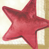 Servietten 33x33 cm - VELVET STAR red gold