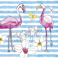 Servietten 33x33 cm - FLAMINGO ROAD blau