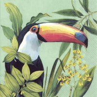 Servietten 33x33 cm - TOUCAN IN PARADISE mint