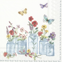 Servietten 33x33 cm - SUMMER JARS white