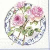 Servietten 33x33 cm - ROSE FOR LUNCH white