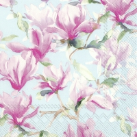 Servietten 33x33 cm - MAGNOLIA POESIE light blue