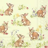 Servietten 33x33 cm - SWEET LOVELY BUNNIES li.green