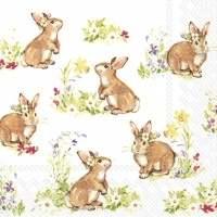 Servietten 33x33 cm - SWEET LOVELY BUNNIES white