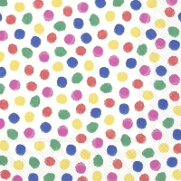 Servietten 33x33 cm - COLOURFUL DOTS blue red