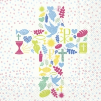 Servietten 33x33 cm - CROSS OF PEACE blue red