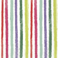 Servietten 33x33 cm - COLOURFUL STRIPES red green