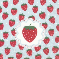 Servietten 33x33 cm - MY LITTLE STRAWBERRIES li.blue