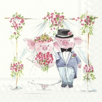 Napkins 33x33 cm - PIGGY WEDDING