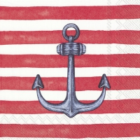 Servietten 33x33 cm - SAILOR´S ANCHOR red