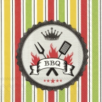 Servietten 33x33 cm - BBQ red green