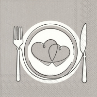 Servietten 33x33 cm - DINNER FOR LOVE grey