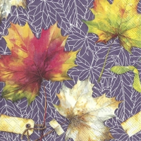 Servietten 33x33 cm - COUNTRY LEAVES lilac