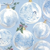 Servietten 33x33 cm - WINTER BAUBLES light blue