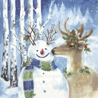 Servietten 33x33 cm - A KISS FOR SNOWMAN