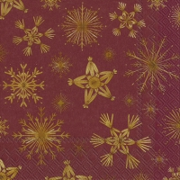 Servietten 33x33 cm - STRAW STARS red