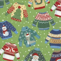 Servietten 33x33 cm - UGLY SWEATER green