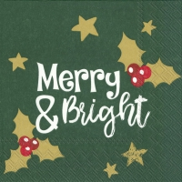 Servietten 33x33 cm - MERRY AND BRIGHT green