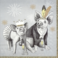 Servietten 33x33 cm - PARTY PIGS grey
