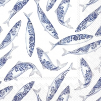 Servietten 33x33 cm - DECORATIVE FISH white