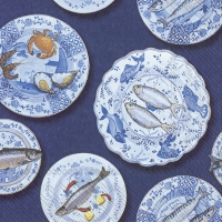 Servietten 33x33 cm - SEAFOOD ON A PLATE blue