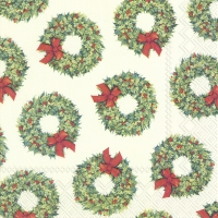 Servietten 33x33 cm - LOTS OF WREATHS cream