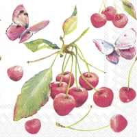 Servietten 33x33 cm - CHERRIES AND BUTTERFLY