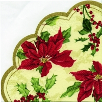 Servietten - Rund - FLORAL CHRISTMAS cream