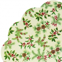 Servietten - Rund HOLLY BURST cream