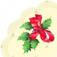 Servietten - Rund CHRISTMAS BOW cream