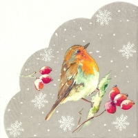 Servietten - Rund WINTER ROBIN linen