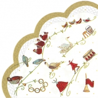 Servietten - Rund 12 DAYS OF CHRISTMAS wh. gold