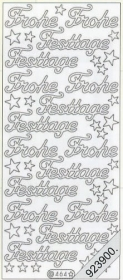 Stickers Text-Sticker - deutsch Frohe Festtage - silber