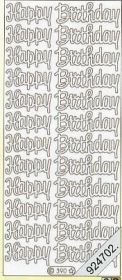 Stickers Happy Birthday - silber