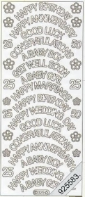 Stickers english - Happy Birthday - God Luck... - gold