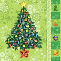 Servietten 33x33 cm - Christmas Tree Green