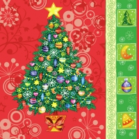 Servietten 33x33 cm - Christmas Tree Red