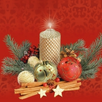 Servietten 33x33 cm - Gold Candle & Baubles Red