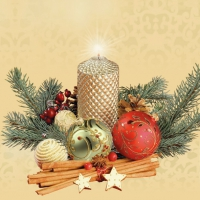 Servietten 33x33 cm - Gold Candle & Baubles Beige