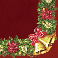 Servietten 33x33 cm - Xmas Wreath with Bells Claret