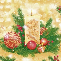 Servietten 33x33 cm - Decorative Candle & Baubles