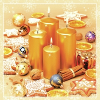 Servietten 33x33 cm - Christmas Gold Candles & Cookies
