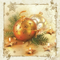 Servietten 33x33 cm - Gold Decorative Bauble