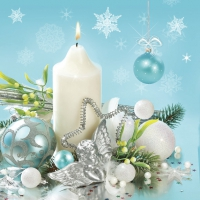 Servietten 33x33 cm - Xmas White & Blue Decoration