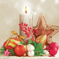 Servietten 33x33 cm - Xmas Candle, Star & Baubles
