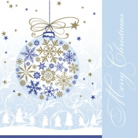 Servietten 33x33 cm - Xmas Gold & Blue Snowflake Ball