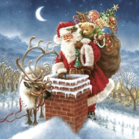 Servietten 33x33 cm - Santa Claus & Chimney